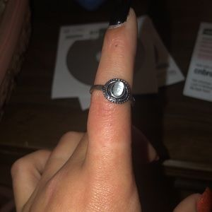 Beautiful boho ring size 8 rhodium plated